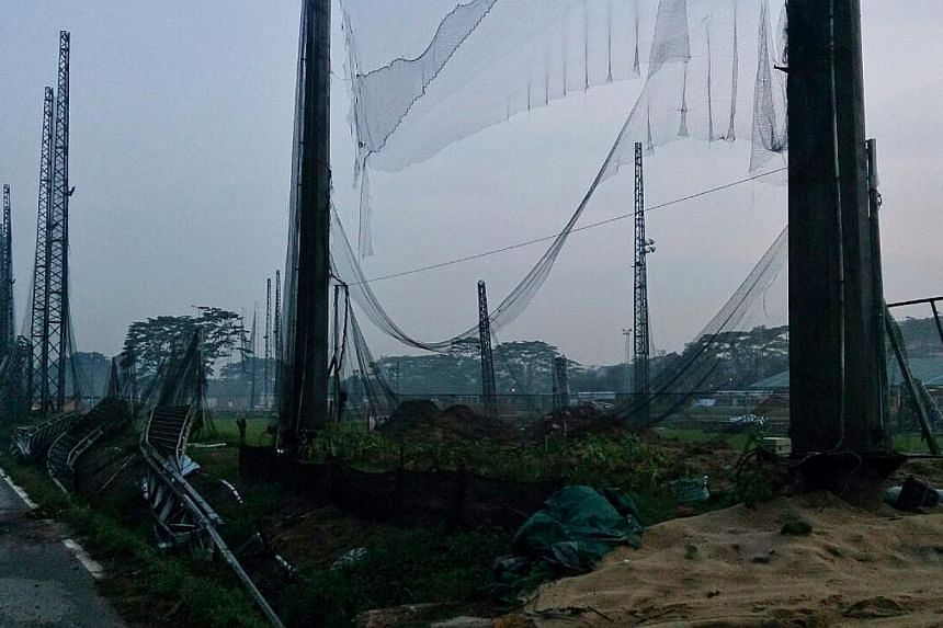 An afternoon storm caused damage to the All Star Golf Range today, 14 Oct 2014. -- ST PHOTO: DESMOND FOO