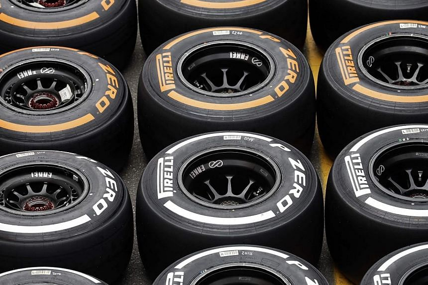 """Pirelli tyres are seen in the paddock ahead of the weekend's Italian F1 Grand Prix in Monza on Sept 4, 2014.Brazilian driver Felipe Massa says Pirelli's choice of tyres for his home Formula One Grand Prix next month is """"very dangerous"""". -- PHOT"""