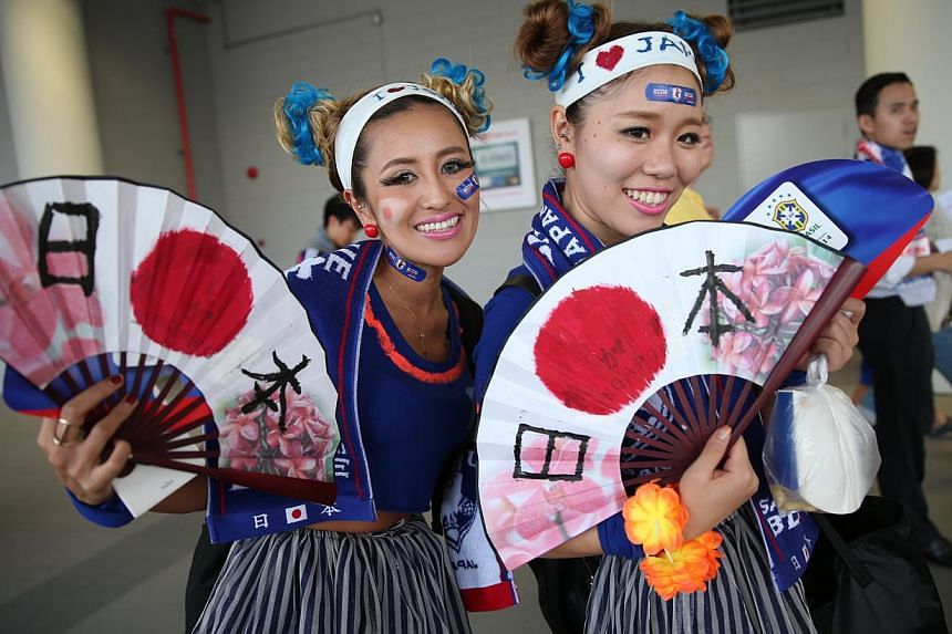 Fans of Japanese football team spotted at Brazil vs Japan soccer match at Singapore Sports Hub on Oct 14, 2014. -- ST PHOTO : WANG HUI FEN
