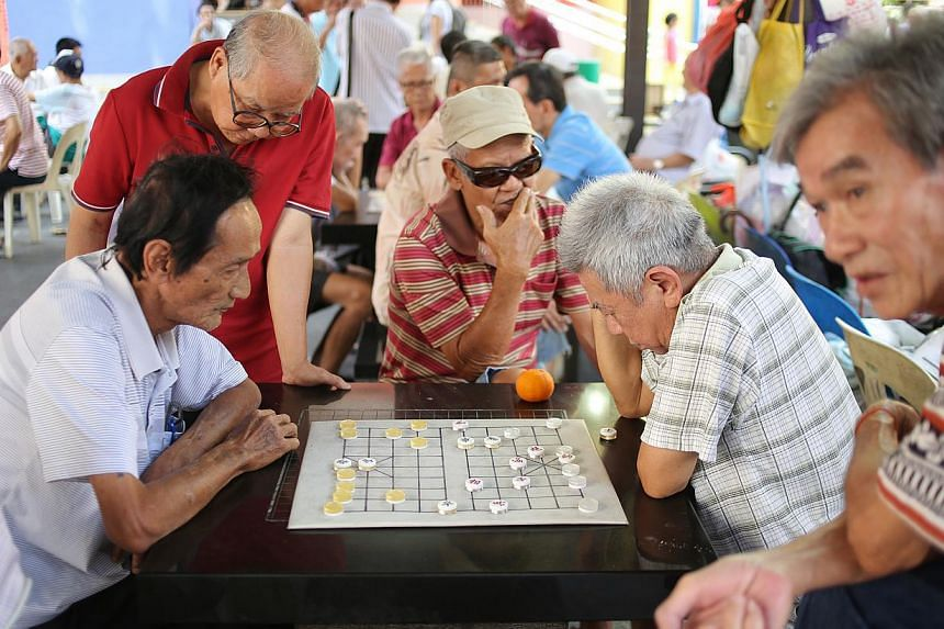 Most elderly Singapore residents are positive about growing old with eight in 10 feeling confident that their needs would be taken care of as they age. -- PHOTO: ST FILE