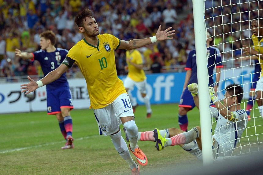 Brazil captain Neymar wheels away after scoring his fourth goal against Japan in their 4-0 friendly win at the National Stadium in the Singapore Sports Hub. The gripping victory has set international and social media abuzz, even the morning after the
