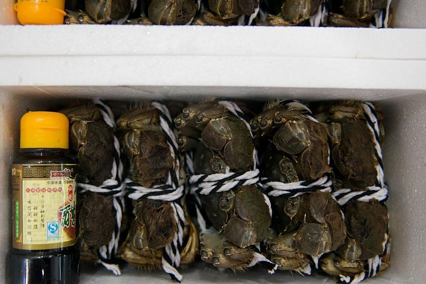 Hairy crabs packed to sell at an aquatic product market in Shanghaion Oct 14, 2014.China's gourmet crab industry has become the latest victim of Communist authorities' two-year corruption crackdown after high-end spirits and luxury cars,