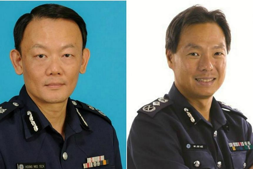 The current Deputy Commissioner of Investigations and Intelligence, Mr Hoong Wee Teck (left), will be appointed Commissioner of Police on Jan 6 next year. He replaces current Police Commissioner Ng Joo Hee, who will be appointed chief executive of th