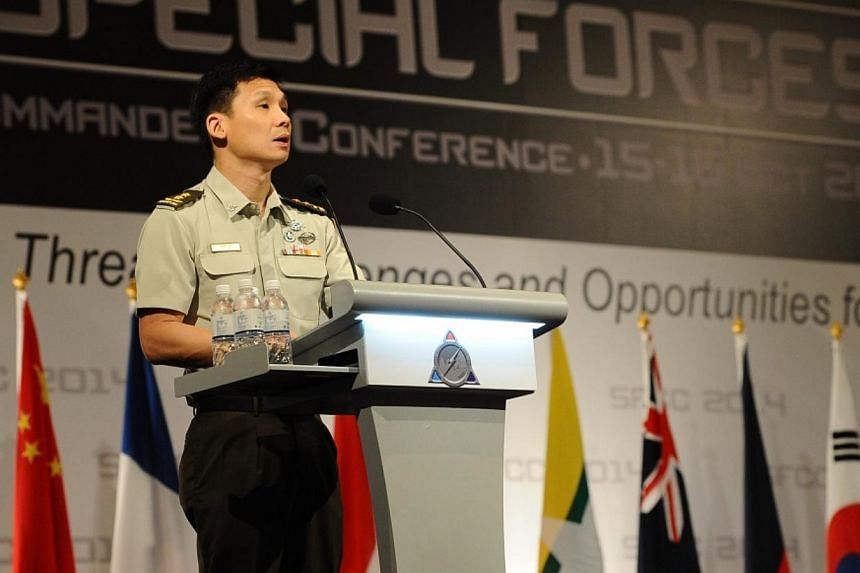 Singapore's chief of army, Major-General Perry Lim, delivering the opening address at the Special Forces Commanders' Conference 2014 on Wednesday. -- PHOTO: MINDEF