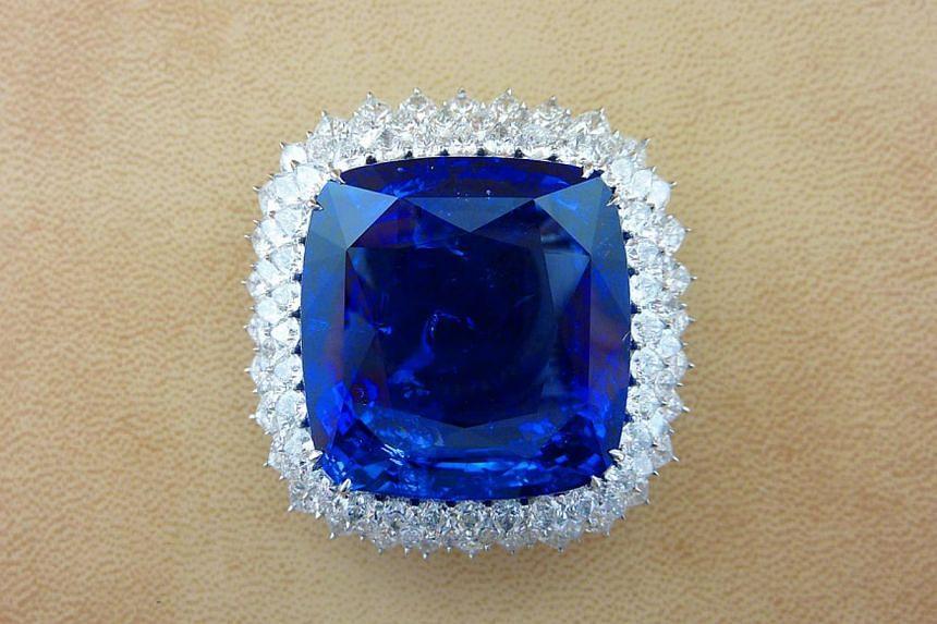 200.36ct sapphire with diamonds platinum brooch. Jeweller: Essex Global Trading; Bijan & Co. Pavilion/Booth: Exquisite/EP119. Price: S$1,875,000.-- PHOTO: UBM MEDIA