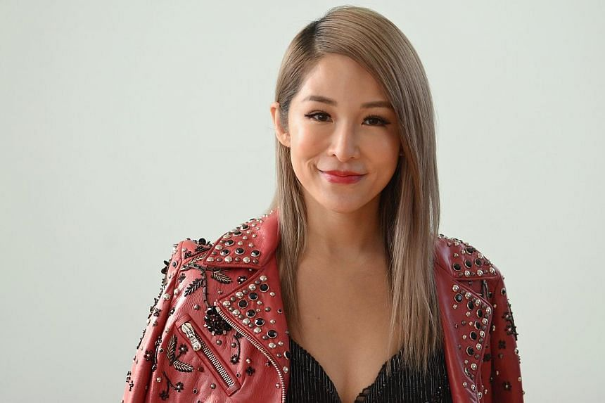 Taiwanese singer Elva Hsiao at a press event in Singapore on Thursday. -- PHOTO: MATTHIAS HO FOR THE STRAITS TIMES