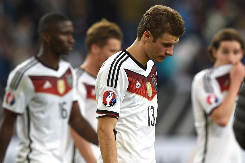 Germany's forward Thomas Mueller reacts after the UEFA Euro 2016 Group D qualifying football match against the Republic of Ireland in Gelsenkirchen, Germany on Oct 14, 2014. World champions Germany have no reason for concern over qualifying for
