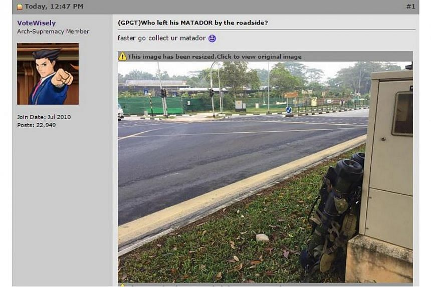 Pictures have surfaced online of what looks like a pair of anti-tank weapons placed beside a transformer box by the roadside. -- PHOTO: SCREENGRAB FROM HARDWAREZONE.COM.SG