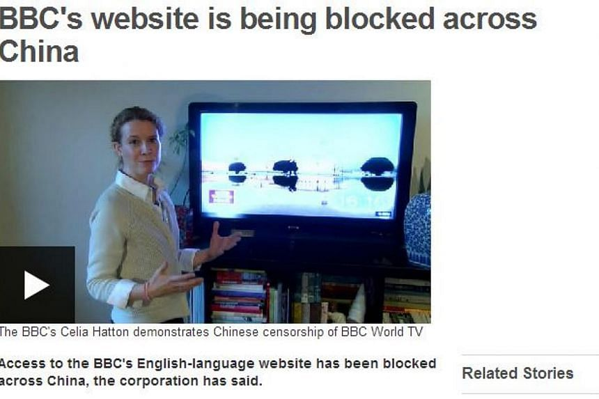 Chinese censors have blocked the website of Britain's national broadcaster, the BBC said in a statement late on Wednesday, coming as tensions rise in Hong Kong between pro-democracy protesters and police. -- SCREENGRAB: BBC.COM