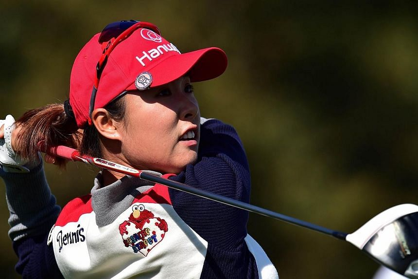 Kang Hae Ji of South Korea tees off at the 18th hole during the first round of the LPGA KEB-HanaBank Championship golf event at the Sky72 Golf Club in Incheon, west of Seoul on Oct 16, 2014. TheSouth Korean golfer, who is still seeking her firs
