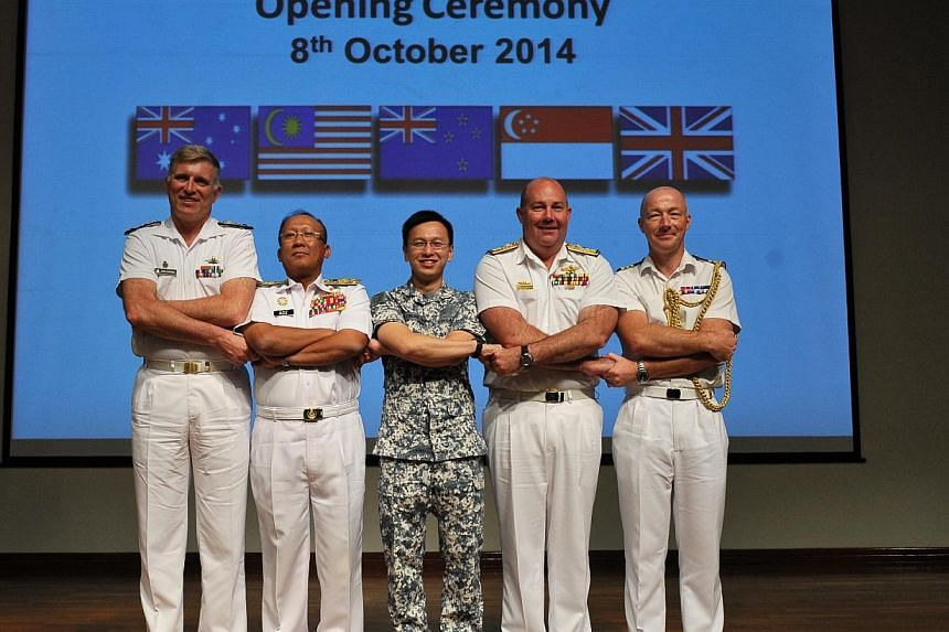 Navy chiefs and representatives of the FPDA nations at the opening of Exercise Bersama Lima 2014 on 8 Oct. -- PHOTO: MINISTRY OF DEFENCE
