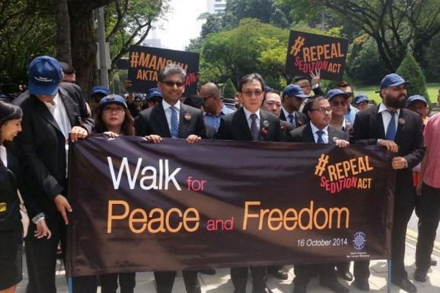 Members of the Malaysian Bar Council participating in the march, calling for the repeal of the Sedition Act. -- PHOTO:THE STAR/ASIA NEWS NETWORK