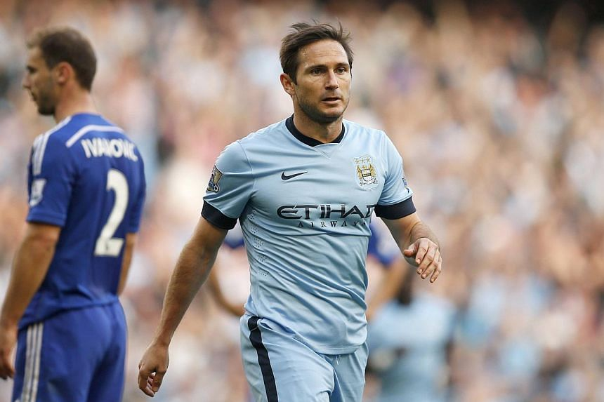 "Manchester City's Frank Lampard in action against Chelsea at the Etihad stadium in Manchester, northern England on Sept 21, 2014. Lampard came to the defence of Raheem Sterling on Wednesday, saying the Liverpool midfielder had been ""brave"" to admit t"