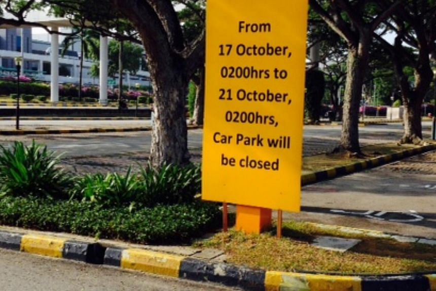 A sign at the Terminal 1 carpark. -- ST PHOTO: AZIZ HUSSIN