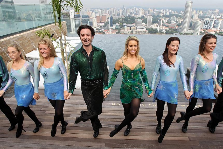 The cast of Riverdance, led by dancers Padraic Moyles and Chloey Turner, showed off their Irish high-stepping skills at the Marina Bay Sands SkyPark on 2010. -- PHOTO: MY FILE