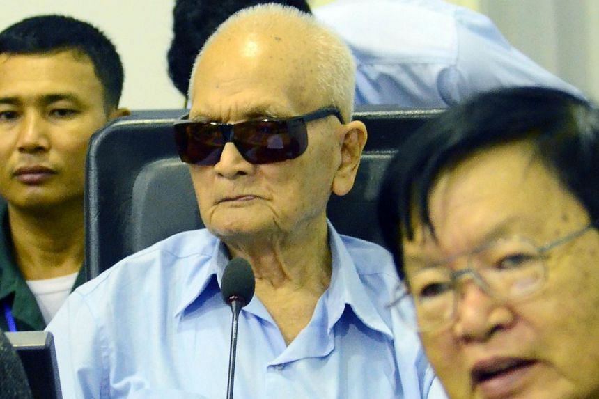 """Former Khmer Rouge leader Nuon Chea branded his conviction for crimes against humanity a """"child's fairytale"""" at a United Nations-backed court in Cambodia on Friday. -- PHOTO: AFP/NHET SOK HENG/ECCC"""