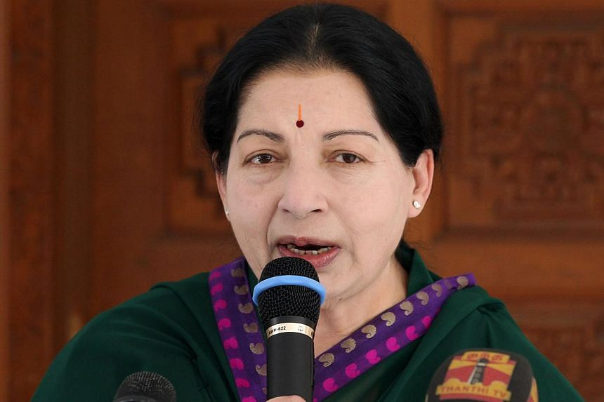 India's top court granted bail on Friday to powerful south Indian film star turned politician Jayalalithaa Jayaram, who was jailed last month for corruption. -- PHOTO: AFP