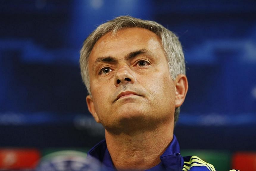 Chelsea's manager Jose Mourinho attends a news conference ahead of their Champions League Group G match against Sporting at the Alvalade stadium in Lisbon on Sept 29, 2014. -- PHOTO: REUTERS