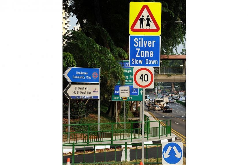 Silver Zone Sign at Bukit Merah View.-- PHOTO:LAND TRANSPORT AUTHORITY
