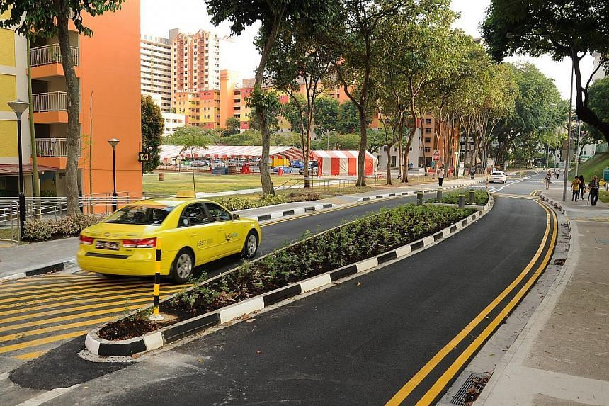 The Eye-land is a large centre divider with speed humps and two-stage-crossing.-- PHOTO:LAND TRANSPORT AUTHORITY