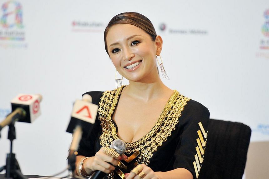 Ayumi Hamasaki at the press conference to promote the Saturday performance at A-nation, the Japanese music festival. -- ST PHOTO: RUDY WONG