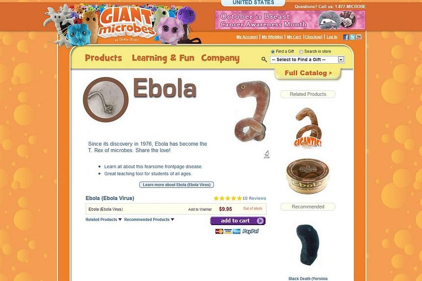 They might look tasteless, but satisfied customers dub them cute and adorable. Ebola-themed toys have proved such a hit that one United States-based company has sold out of them. -- PHOTO:SCREENGRAB FROM GIANT MICROBES