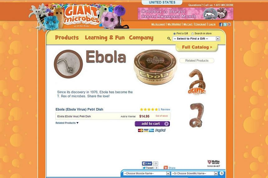 They might look tasteless, but satisfied customers dub them cute and adorable. Ebola-themed toys have proved such a hit that one United States-based company has sold out of them.-- PHOTO:SCREENGRAB FROM GIANT MICROBES