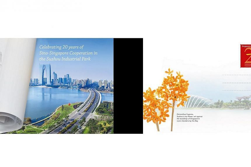 Singapore Post and China Post on Saturday released commemorative postcards to celebrate the 20th anniversary of the Suzhou Industrial Park. -- PHOTO: SINGPOST