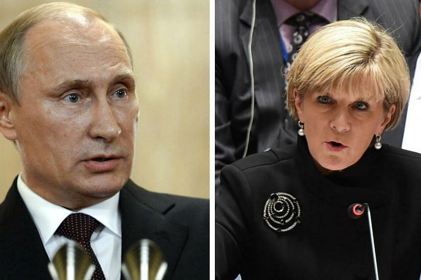 Russian President Vladimir Putin (left) was cooperative and constructive when asked for his help in allowing investigators access to the MH17 crash site in Ukraine, Australian Foreign Minister Julie Bishop said on Saturday. -- PHOTOS: REUTERS, AFP