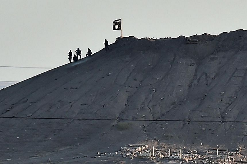 Alleged Islamic State (IS) militants stand next to an IS flag atop a hill in the Syrian town of Ain al-Arab, known as Kobane by the Kurds, as seen from the Turkish-Syrian border in the southeastern town of Suruc, Sanliurfa province, on Oct 6, 2014.