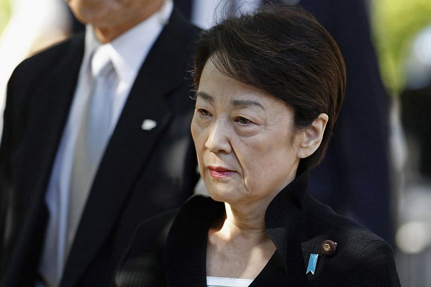 Japan's Minister-in-Charge of the Abduction Issue and head of the National Public Safety Commission Eriko Yamatani visiting the Yasukuni Shrine in Tokyo ib October 18, 2014. --PHOTO: REUTERS