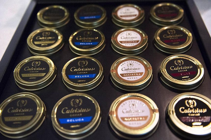 Different varieties of caviar (beluga, oscietra...) from Italy are displayed at the SIAL (Salon International de l'Agroalimentaire, Global Food Show), on Oct 19, 2014, in Villepinte, north-east of Paris. -- PHOTO: AFP