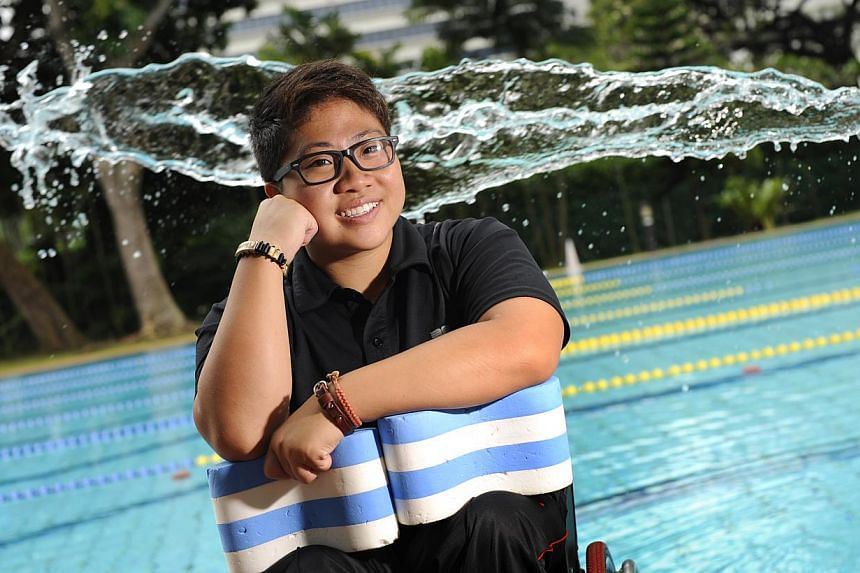 Singapore swimmer Theresa Goh clinched Singapore's first medal at the Incheon Asian Para Games on Sunday when she won a bronze in the women's 100m breaststroke SB4 final. -- PHOTO: ST FILE