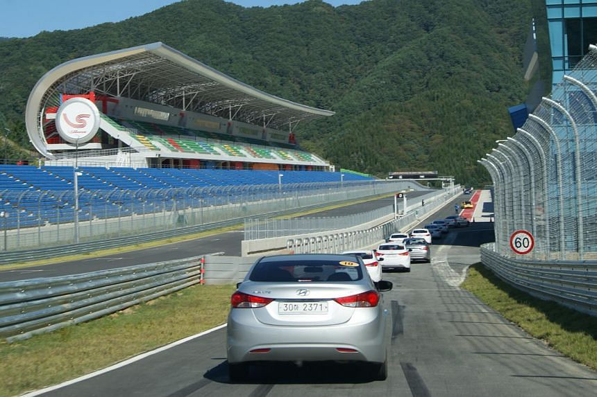 A car convoy heading off to the travellers' next adventure in South Korea.