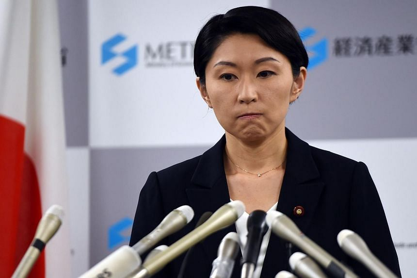Japanese Economy, Trade and Industry Minister Yuko Obuchi announces her resignation of her post at a press conference at her office in Tokyo on Oct 20, 2014. -- PHOTO: AFP