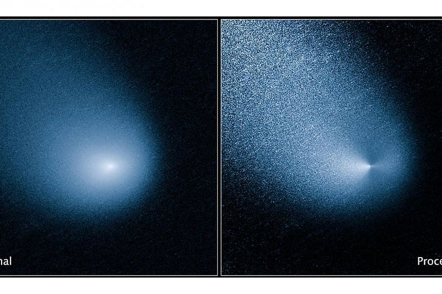Comet C/2013 A1, also known as Siding Spring, is seen before and after filtering as captured by Wide Field Camera 3 on NASA's Hubble Space Telescope in this image released on Oct 19, 2014. -- PHOTO: REUTERS