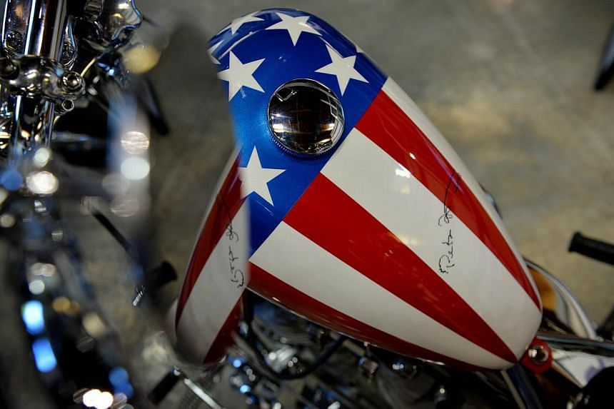 Peter Fonda's signature on the chopper. -- PHOTO: AFP