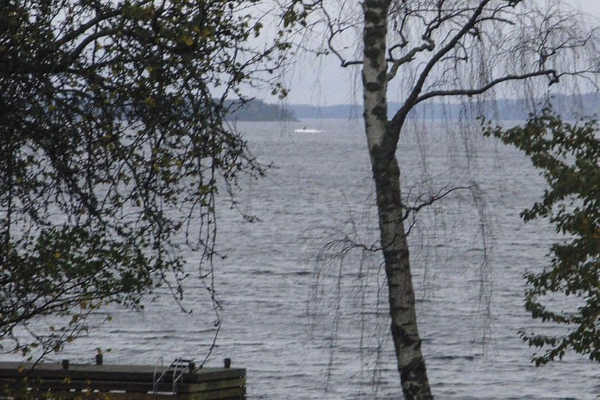This handout picture made available on Oct 19, 2014 by the Swedish Defence Minister shows a dark object in a white wake in the sea to the left of the tree in the centre. -- PHOTO: AFP