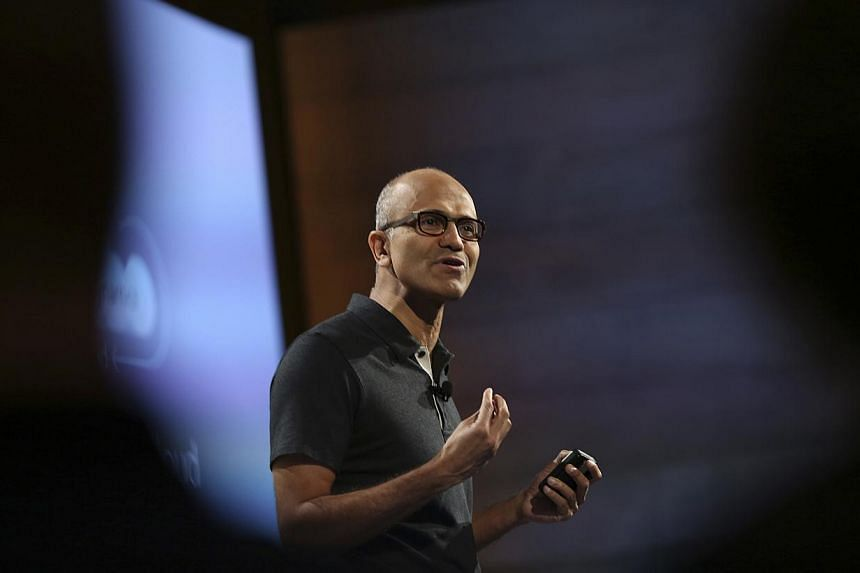 Microsoft CEO Satya Nadella addresses the crowd during a Microsoft cloud briefing event in San Francisco, California on Oct 20, 2014. -- PHOTO: REUTERS