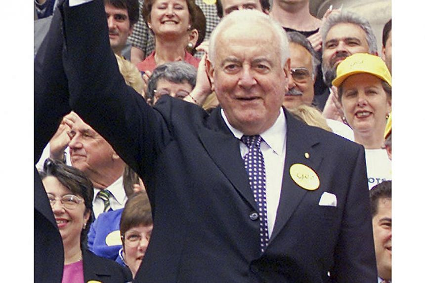 A file photo of former Australian Prime Minister Gough Whitlam on the steps of Victoria's Parliament House in Melbourne. Whitlam, one of Australia's most admired figures who led the nation through a period of massive change, died on Oct 21 aged 98. -