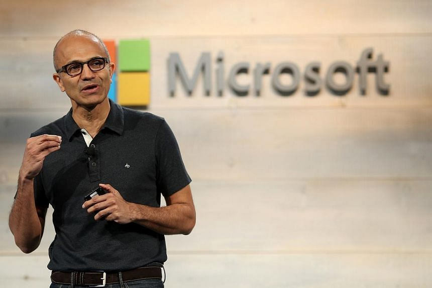 Microsoft CEO Satya Nadella speaks during a Microsoft cloud briefing event in San Francisco, California on Oct 20, 2014. -- PHOTO: REUTERS