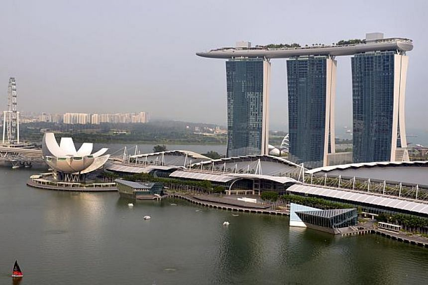 View of Marina Bay Sands (MBS) as seen from OUE Bayfront Walk on Oct 16, 2014. -- PHOTO: ST FILE