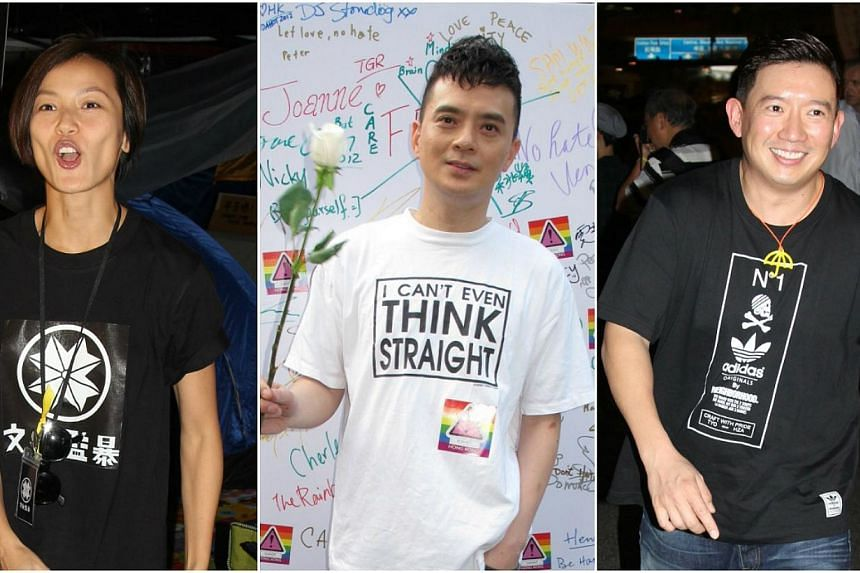 The Chinese authorities have quietly banned (from left) Denise Ho, Anthony Wong and actor Chapman To, telling entertainment companies to exclude the stars from performances. -- PHOTOS: APPLE DAILY