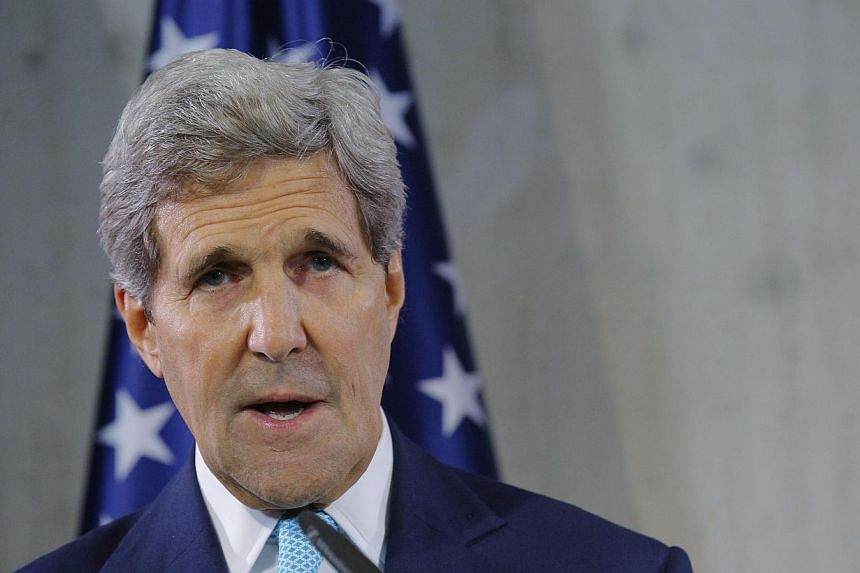 US Secretary of State John Kerry said on Wednesday there was no quid pro quo involved in North Korea's release of Jeffrey Fowle and expressed hope that denuclearisation talks with Pyongyang could start again soon. -- PHOTO: AFP