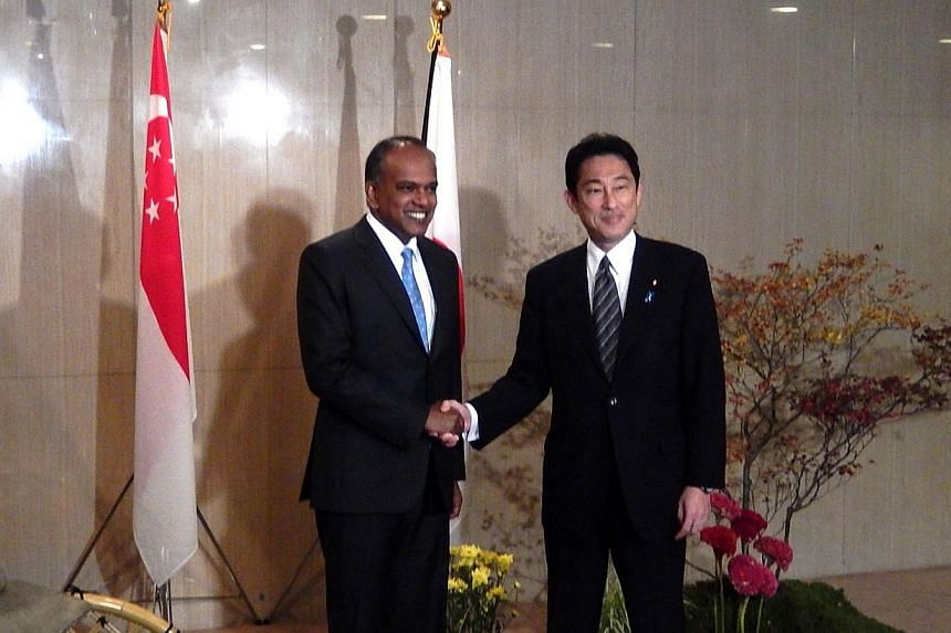 Minister K Shanmugam (left) and Japanese Foreign Minister Fumio Kishida speaking to the media before the lunch hosted by Minister Kishida for Minister Shanmugam.-- PHOTO: MINISTRY OF FOREIGN AFFAIRS