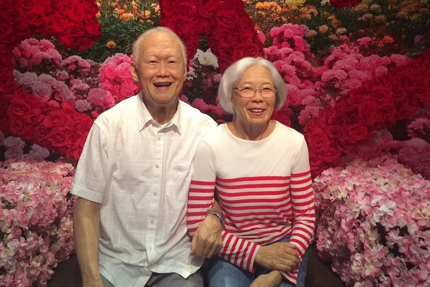 Wax figures of former prime minister Lee Kuan Yew and his late wife Kwa Geok Choo have been unveiled at the Madame Tussauds Singapore wax museum, which had its grand opening on Thursday. -- PHOTO: MADAME TUSSAUDS SINGAPORE