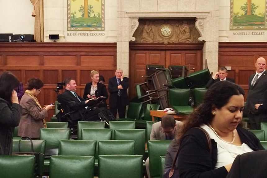 The Conservative Party caucus room is shown shortly after shooting began on Parliament Hill, in Ottawa, Ontario on Oct 22, 2014. Photo taken and provided by MP Nina Grewal. -- PHOTO: REUTERS