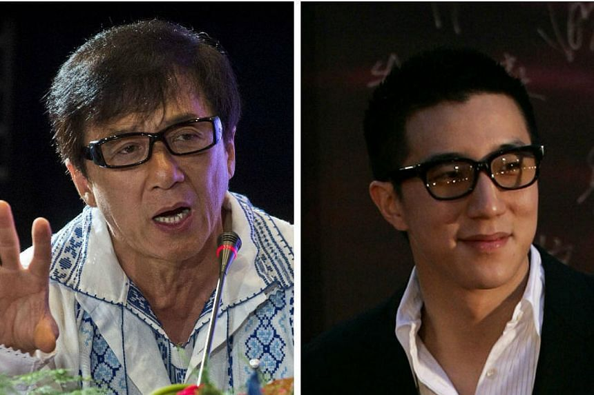 Speaking to reporters about his son Jaycee's (right) drug arrest for the first time, action star Jackie Chan on Thursday begged them not to hurt his wife Lin Feng-jiao with speculative reports. -- PHOTOS: REUTERS, AFP