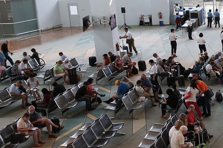 The waiting area of the Marina Bay Cruise Terminal.-- ST PHOTO: NEO XIAOBIN