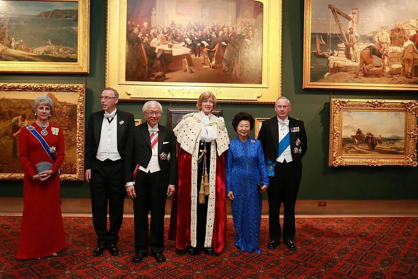 At the state banquet for President Tony Tan Keng Yam are (from left) the Duchess of Gloucester, the Lord Mayor's Consort Nicholas Woolf, Lord Mayor of the City of London Fiona Woolf, Mrs Mary Tan and the Duke of Gloucester. On Tuesday, Dr Tan was awa